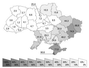 Russian speakers. Data from Ukraine census 2001. Pic credit: Alex Tora