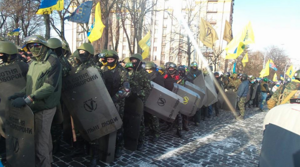 "Euromaidan PR tweeted this photo of ""activists"" going to picket the Ukrainian parliament building earlier this month, in a precursor of what was to come"