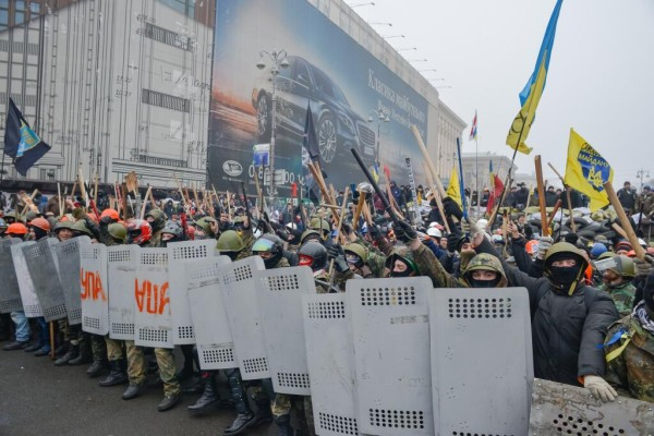 "The letters on the shield are ""UPA"", the initials of the wartime Ukrainian Insurgent Army. Pic credit: LB.UA"
