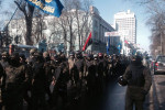 "Fascist Svoboda units of the paramiltary ""Self Defence"" march through Kiev earlier this month. Pic credit:  Samson Dunay"
