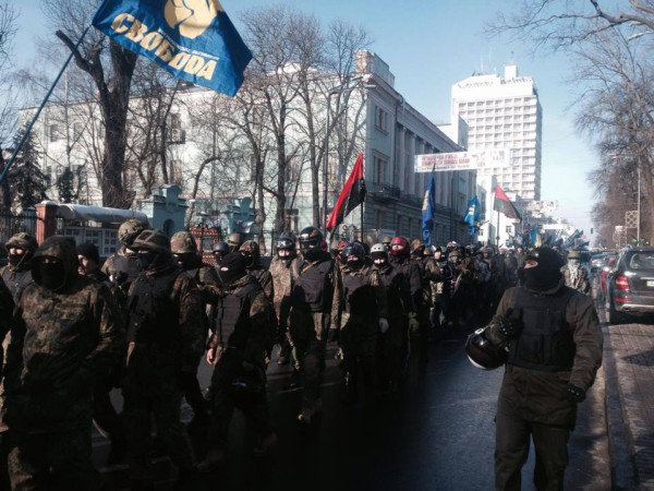 "Fascist Svoboda units of the paramiltary ""Self Defence"" march through Kiev"
