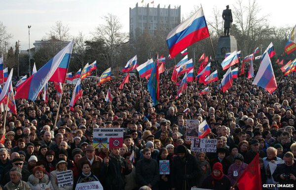 Thousands demonstrate in Sevastopol waving Russian flags. Pic credit: Getty Images
