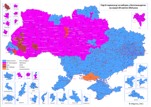 Election results, 2012. Blue: Party of the Regions, Pink: Fatherland, Brown: Svoboda, Red: UDAR, Orange: Communists. Pic credit: Olegzima