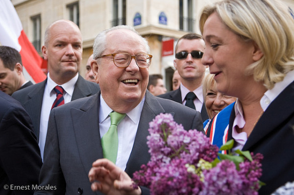 Front National leader Marine Le Pen with her father, party founder Jean-Marie Le Pen. Pic credit: Ernest Morales