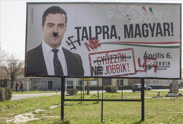 Grafitti tells the truth about fascist Jobbik. Pic credit: MTI/Sándor Ujvári
