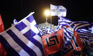 The nazi Golden Dawn's flags carry a distinctive swastika-style motif