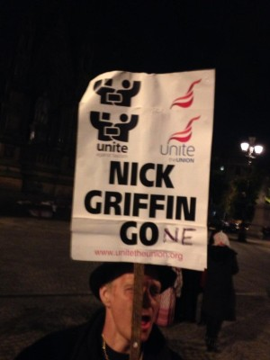 Celebrating the defeat of fascist BNP leader Nick Griffin – no longer an MEP. Pic credit Mark Krantz / @krantzy on twitter