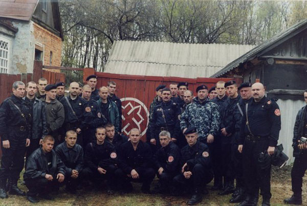 Pavel Gubarev – front row, third from left – in his dayswith fascist paramilitary group Russian National Unity. Pic credit: Pauluskp