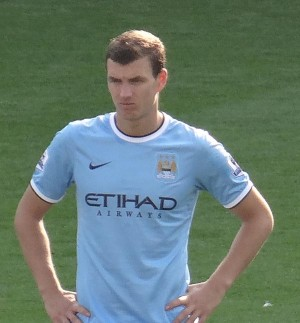 Bosnia and Herzegovina (and Manchester City) striker Edin Dzeko. Pic credit: Jon Candy