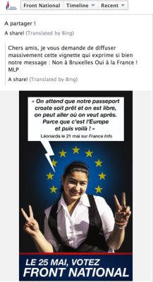 Election propaganda from Marine Le Pen, targeting Roma teenager Leonarda