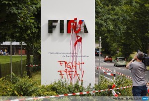 Anti-FIFA graffiti, Zurich. Pic credit: Michael Buholzer/AFP