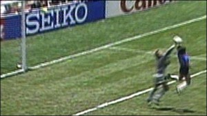 "Maradonna's famous ""Hand of God"" goal against England in 1986"