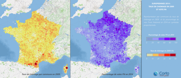 Unemployment in 2009, FN vote 2014. Pic credit: Atlantico.fr / Corto