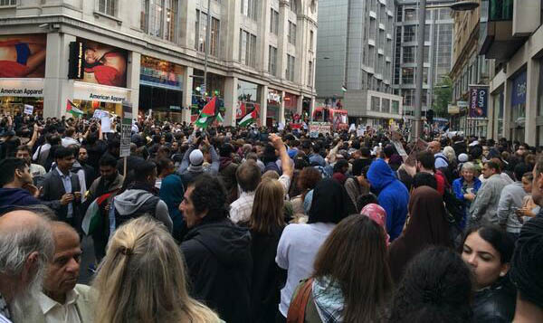 Thousands of demonstrators block the road outside the Israeli embassy in London today. Pic credit: Stop the War Coalition