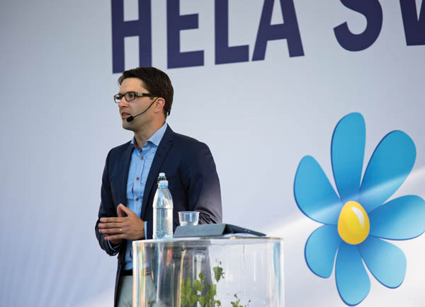 Sweden Democrats leader Jimmie Åkesson speaks  – fascism is no prettier with flowers. Pic credit: News Øresund