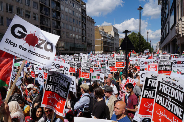 London demo for Gaza, Saturday 9 August. Pic credit: Geoff Dexter – see set of pics here