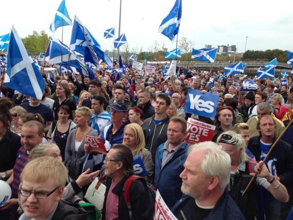 Yes campaigners protesting at biased coverage of the independence referendum by the BBC this week. Pic credit: Joshua Brown via Facebook