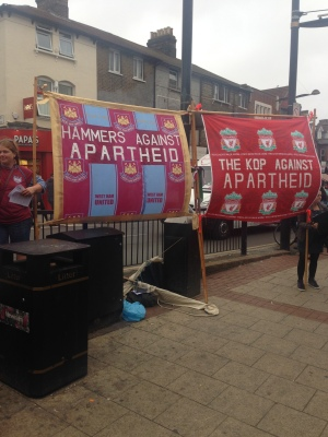 West Ham and Liverpool fans united in  support of the Palestinian struggle (pic cap Martin Smith)