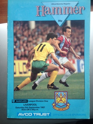 West Ham programme  5th September 1987
