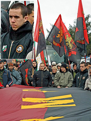 The VMRO - the man on the right has an SS-style Death's Head, used by white power and nazi groups across Europe, and the badge of the paramilitary Bulgarian National Alliance on his jacket.