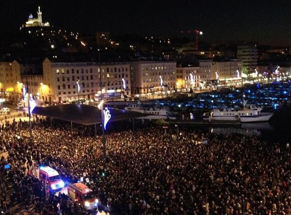 Demonstration in Marseille after the attack on Charlie Hebdo. Pic credit: @clementvr on twitter