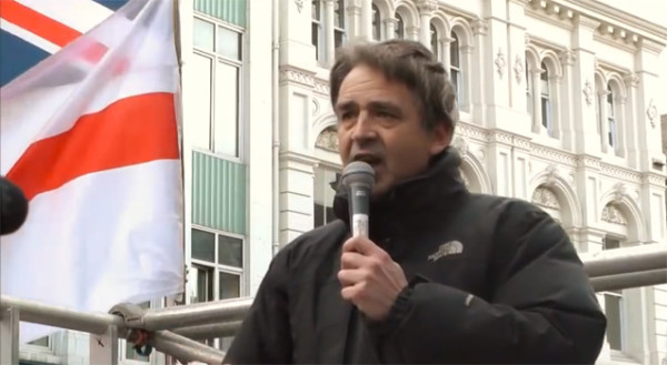 Liberty GB leader Paul Weston speaks at Pegida UK event in Newcastle