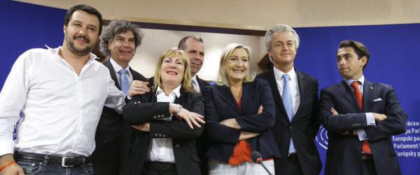 The new fascist and racist bloc. Ex-UKIP MEP Atkinson is third from left, next to Le Pen and Wilders.