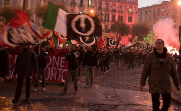 Casa Pound's students on the march in Naples, 2011. Pic credit: Cassatonante