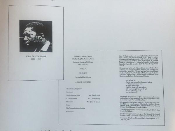 Coltrane's funeral programme