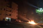 furniture, mattresses and belongings set on fire outside refugees' accommodation. Pic credit: Il Gazzettino