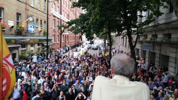 Jeremy Corbyn speaks to hundreds of people who couldn't get into a London rally, from the top of a fire engine. Pic credit: Jeremy Corbyn for PM
