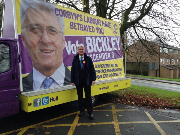 UKIP's John Bickley tweeted this pic of his advert, highlighting Corbyn's leadership of Labour