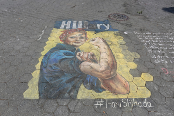 chalk painting in support of Hillary Clinton by Hani Shihada