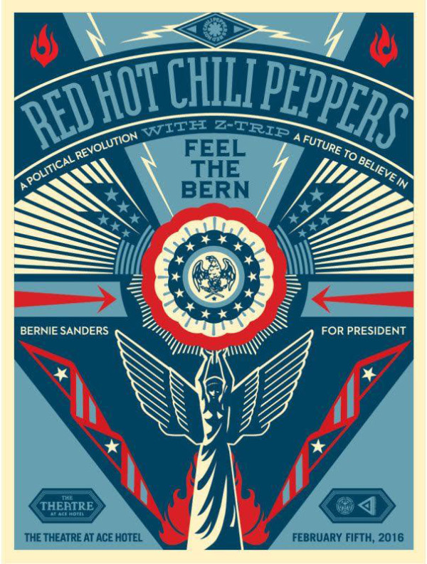 Shepard Fairey's first painting for the Bernie Sanders campaign