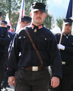 Marian Kotleba in paramilitary uniform. His nazi party has just won 14 seats in parliament