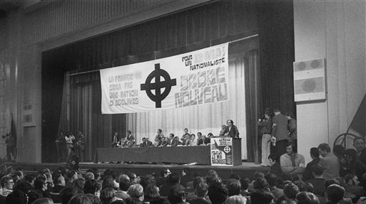 FN predecessor organisation, Ordre Nouveau, in conference. Pic credit: Jacques Cuinières / Roger-Viollet