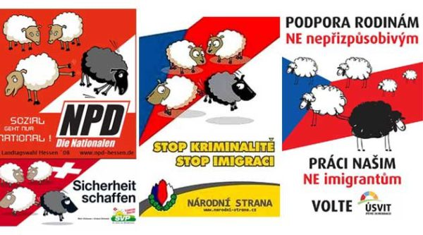 The racist sheep poster, used by the German NPD, the Swiss People's Party, and by both the defunct National Party and Dawn in the Czech Republic. Graphic credit: Romea.cz