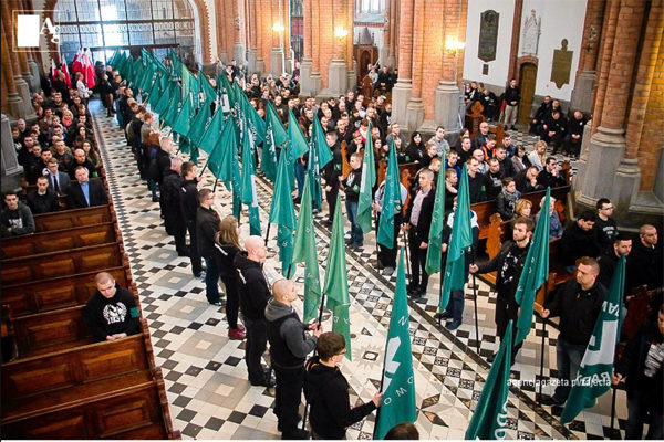 Polish fascist paramilitary group the ONR holds a service in the cathedral of Bialystok in April 2016