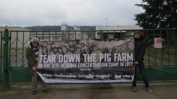 Protestors demanding the closure of the pig farm on the site of the Lety concentration camp. Pic credit: RomaCZ