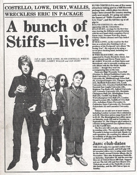 New Musical Express announces Stiffs Greatest Stiffs tour 1977 (From left: Nick Lowe, Elvis Costello, Wreckless Eric, Larry Wallis, Ian Dury)