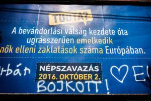 Defaced government referendum billboard